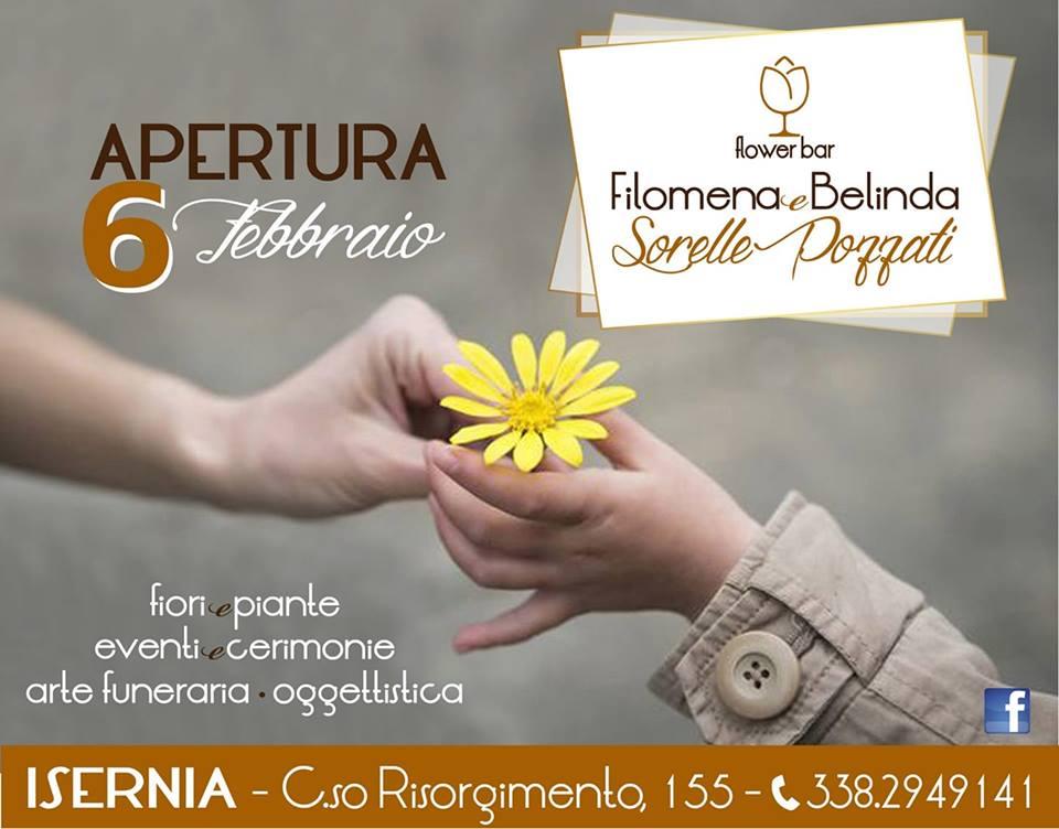 """Ad Isernia il 6 febbraio apre il Flower Bar delle sorelle Filomena e Belinda Pozzati. Piante, fiori ed un modo innovativo di """"coccolare"""" tutti i clienti."""