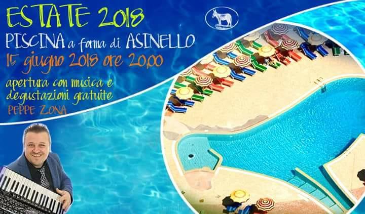 """Al Villaggio Rurale """"Le Sette Querce"""" al via la stagione estiva. Venerdì 15 giugno l'inaugurazione della piscina  a forma di asinello. Ricco il programma dell'estate 2018 che verrà svelato nei prossimi giorni."""