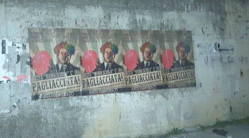 """Isernia: il blocco studentesco contro """"La Buona Scuola"""". Affissi manifesti in Abruzzo e Molise per contestare la riforma del governo Renzi."""
