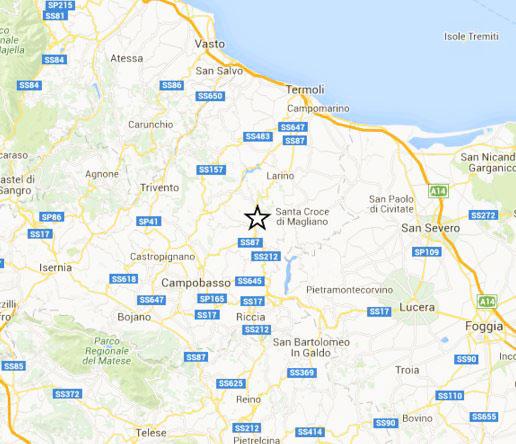 Mappa evento sismico