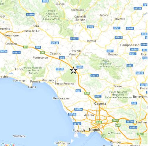 Mappa localizzata eventi sismici