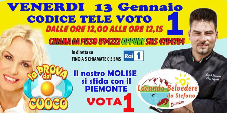 Roma: domani alla Prova del Cuoco tocca nuovamente a Stefano Rufo. Lo chef molisano alla terza partecipazione consecutiva. Si sfiderà con il Piemonte.