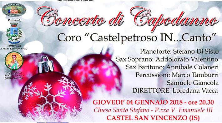 Castel San Vincenzo: questa sera l'atteso concerto di Capodanno. Evento patrocinato dall'Amministrazione Comunale e promosso dall'associazione Santo Stefano.