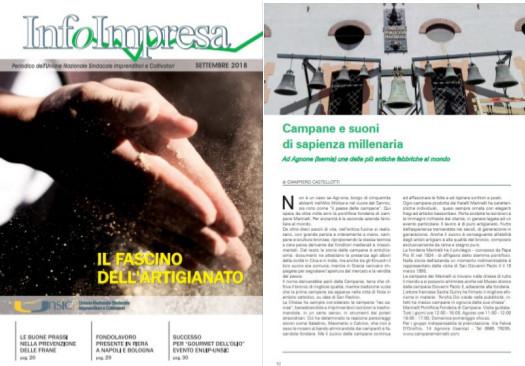 """Le lame di Frosolone e le campane di Agnone: la rivista """"Infoimpresa"""" rende omaggio al Molise."""