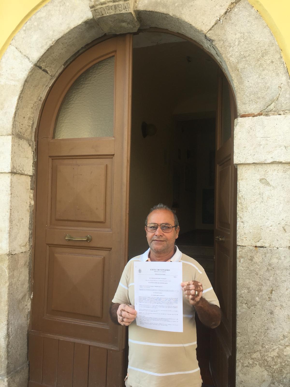 Venafro: nominato il Nuovo Consigliere comunale Straniero. Si tratto di Singh Rajinder. Originario dell'India. Vive e lavora in città da anni.