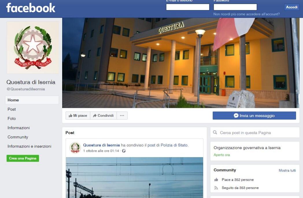 La Questura di Isernia attiva la pagina ufficiale Facebook.