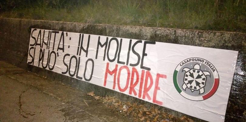 """Termoli: """"In Molise si può solo morire"""", striscione di CasaPound Italia a sostegno del punto nascita di Termoli"""