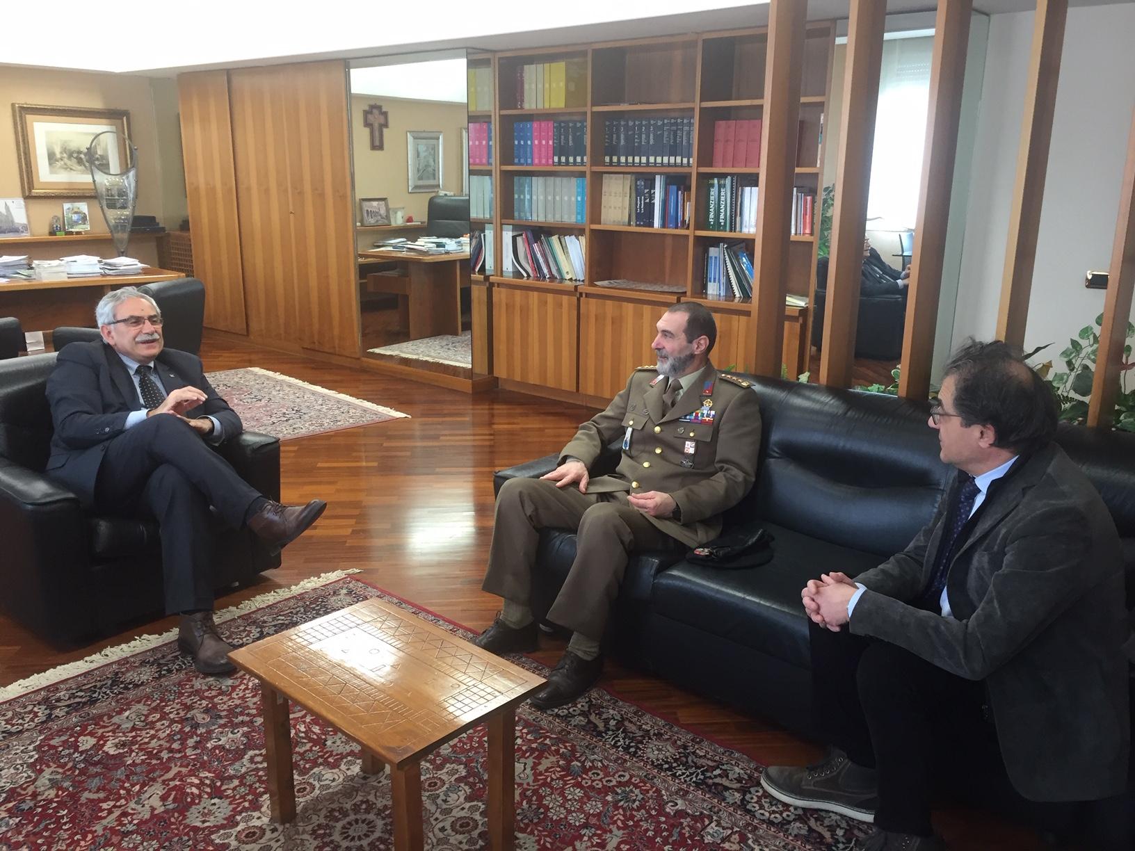 Isernia: il presidente Lorenzo Coia ha incontrato il Comandante regionale esercito Molise D'Ianni.