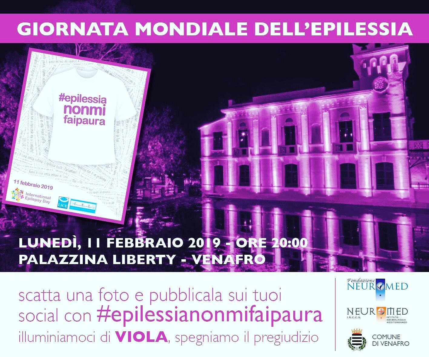 Giornata internazionale sull'epilessia, il Neuromed illumina di viola la palazzina Liberty di Venafro