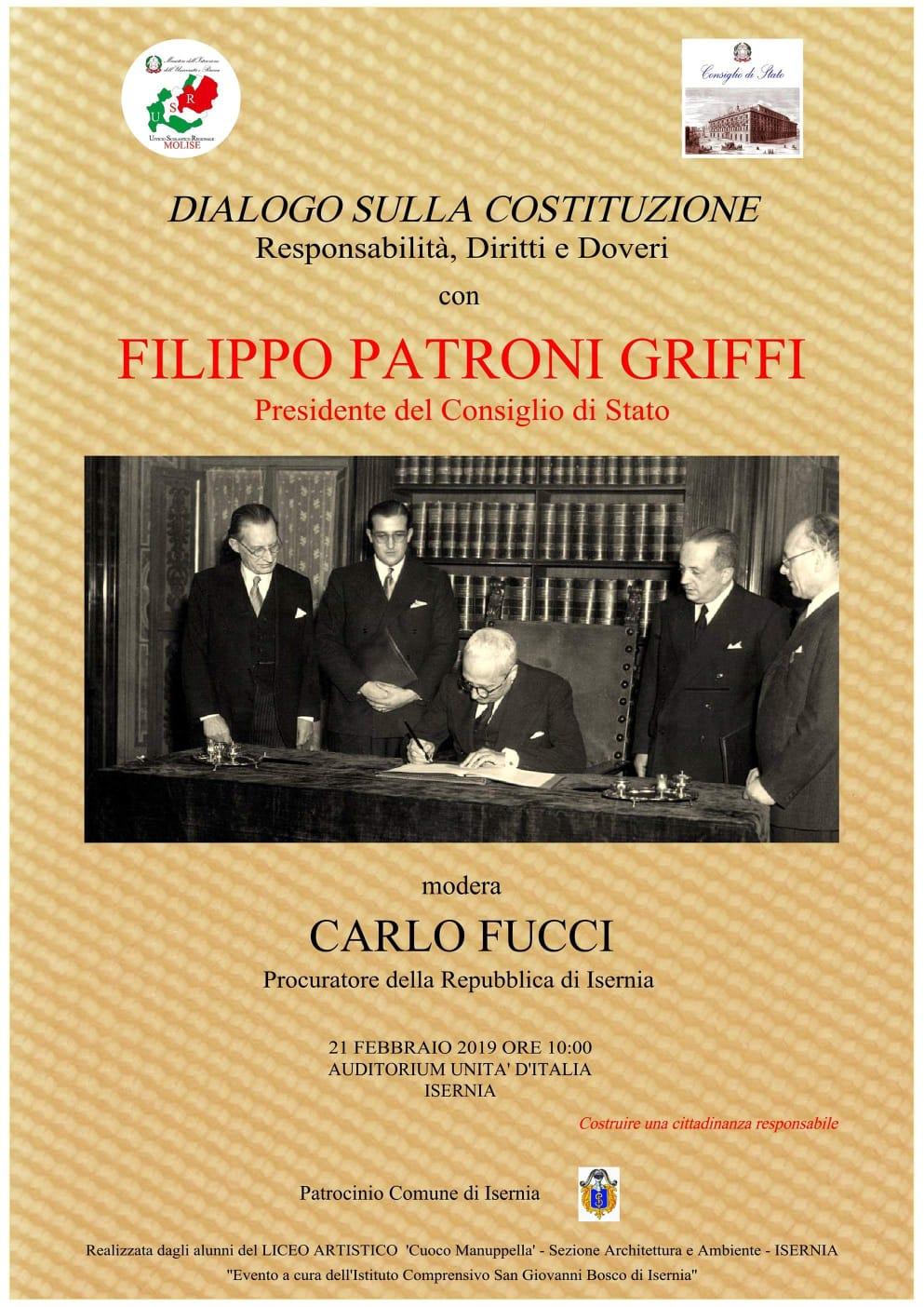 """Isernia: """"Dialogo sulla Costituzione , Responsabilità, Diritti e Doveri"""". Il 21 febbraio seminario all'Auditorium Unita' d'Italia promosso dall'Ufficio scolastico regionale."""