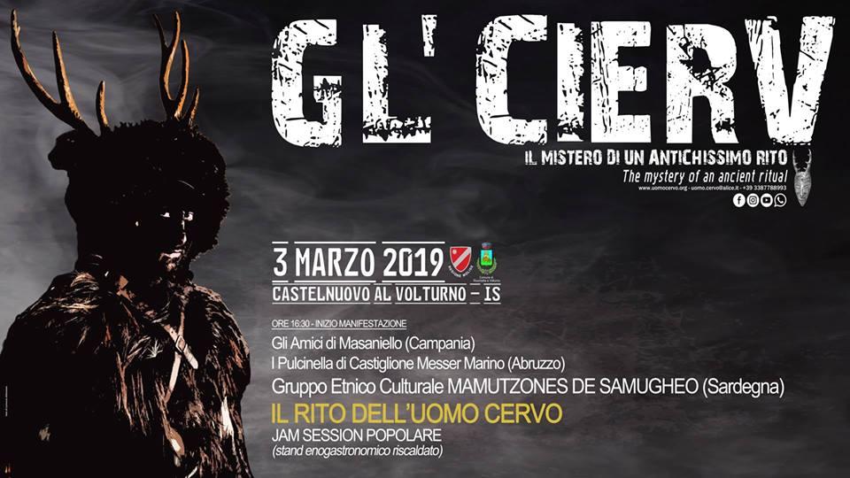 """Castelnuovo al Volturno: """"Gl Cierv"""", domenica 3 marzo appuntamento con uno dei riti più antichi del Molise."""