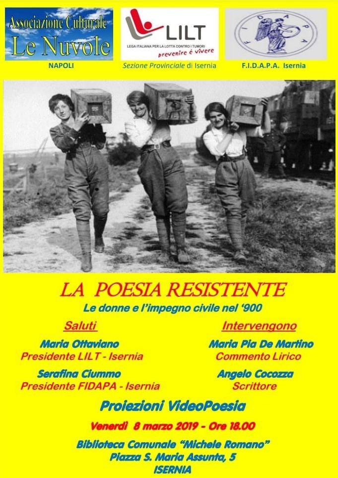 "Isernia: la Lilt promuove ""La Poesia resistente""."