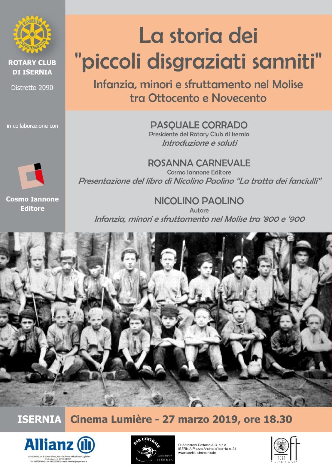 Isernia: il Rotary discute di infanzia, minori e sfruttamento nel Molise tra ottocento e novecento.