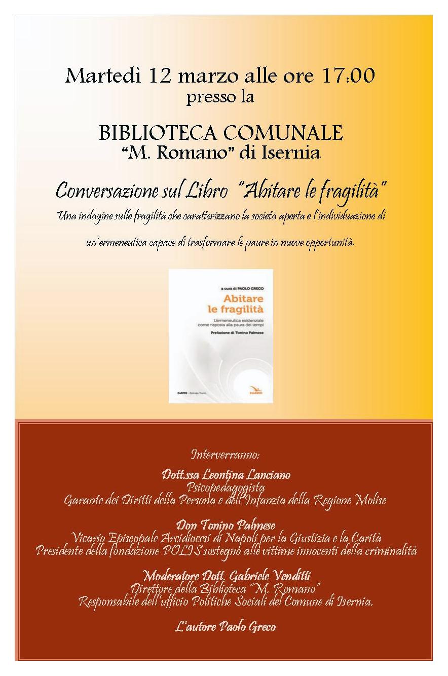 """Isernia: il 12 marzo la presentazione del volume """"Abitare la Fragilità"""" di Paolo Greco."""
