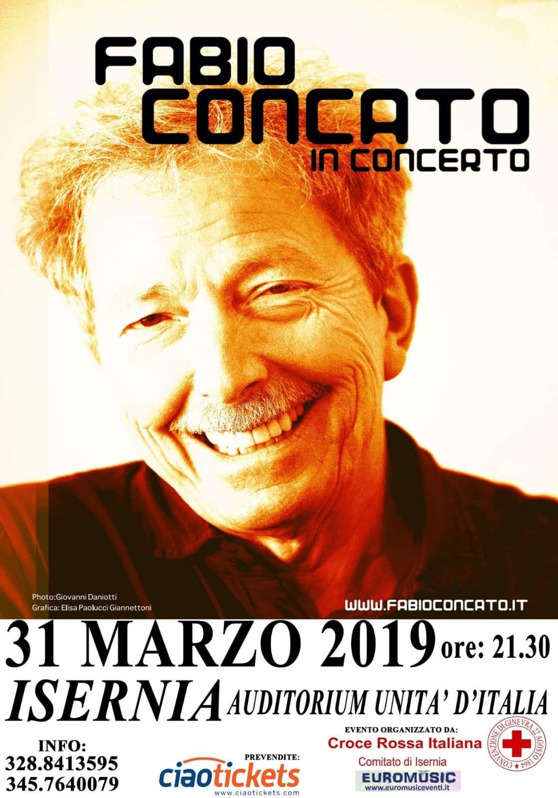Isernia: il 31 marzo il concerto di Fabio Concato all'Auditorium Unita' d'Italia.