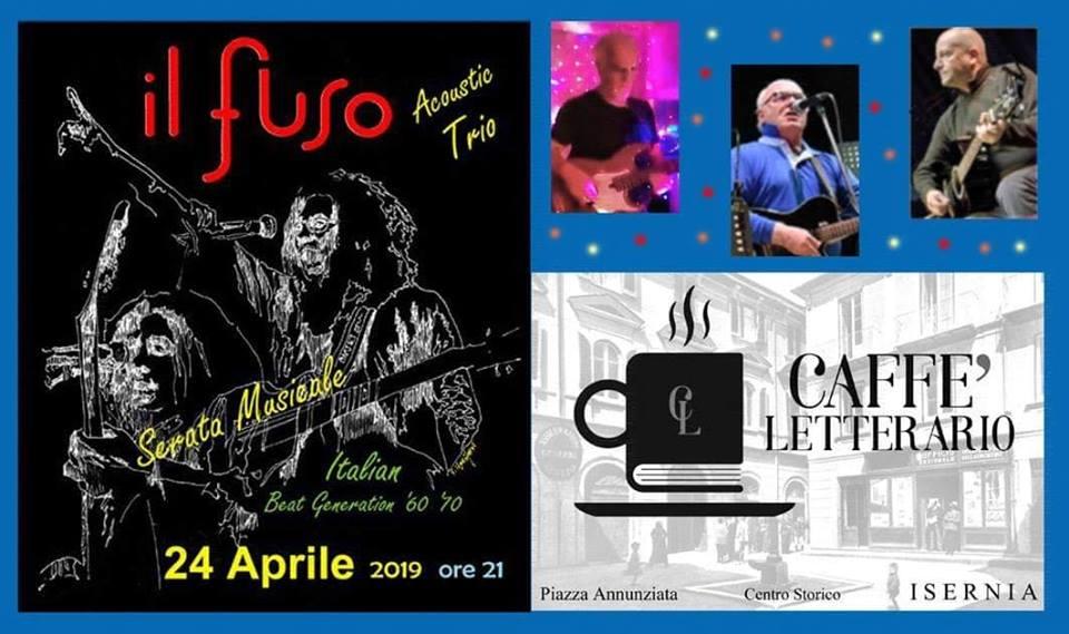 """Isernia: al Caffè Letterario musica live con il """"Fuso Acoustic Trio"""". Serata musicale a ritmo di anni '60, '70, e '80."""