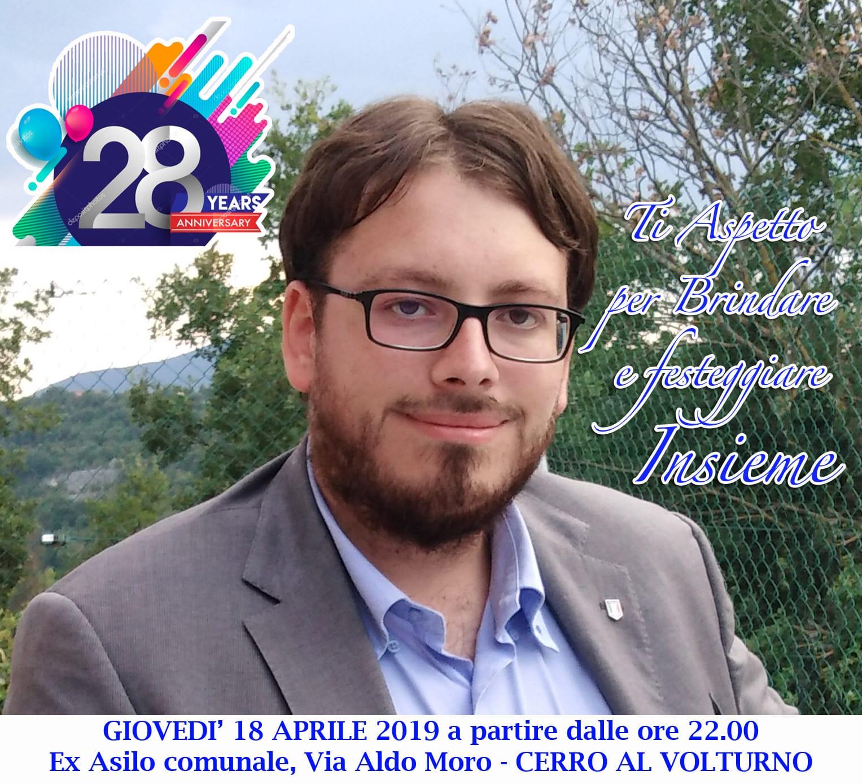L'Angolo degli Auguri: festeggiamo quest'oggi i 28 anni dell'amico e consigliere comunale di Cerro al Volturno Gabriel Paolone.