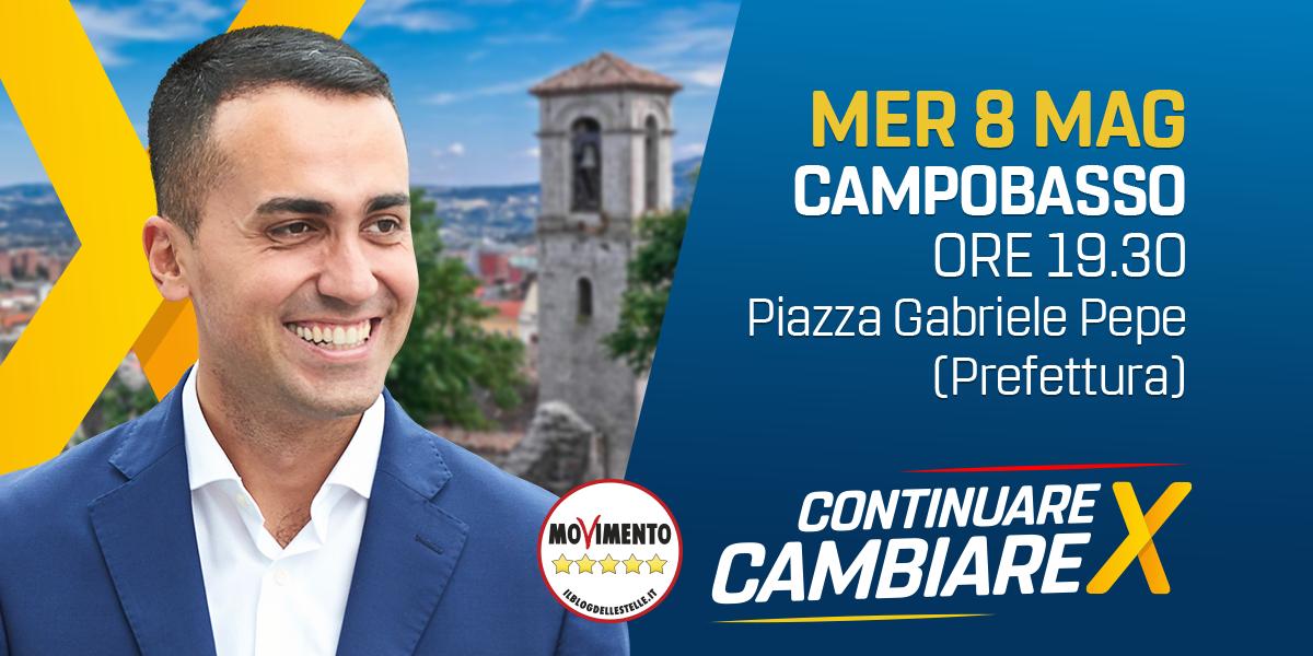 Di Maio mercoledì a Campobasso per il Tour #ContinuareXCambiare.