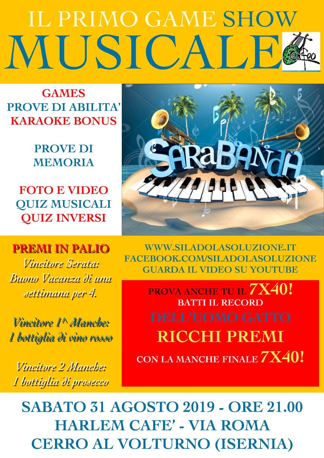 Cerro al Volturno: all'Harlem Cafè di via Roma il primo Game Show Musicale. Appuntamento a sabato 31 agosto.