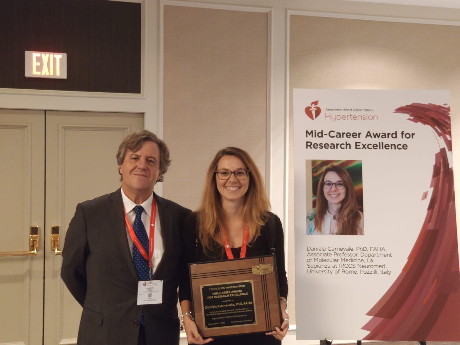 Pozzilli: importante riconoscimento alla Ricerca Neuroimed. Daniela Carnevale insignita del premio Mid-Career Award for Research Excellence